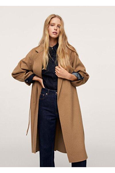 MANGO Woman Kadın Orta Kahverengi Kemerli El Yapımı Palto