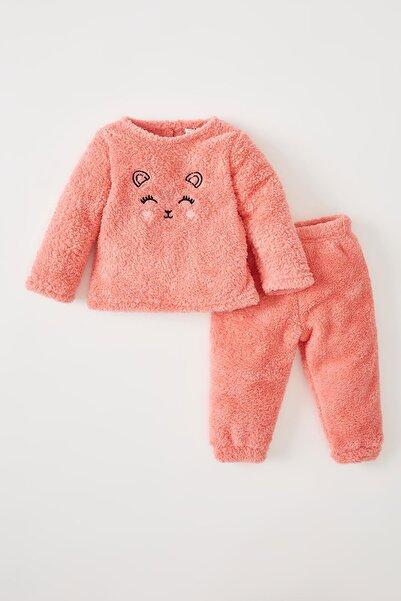 DeFacto Kız Bebek Uzun Kollu Peluş Pijama Takımı W1681A221AU