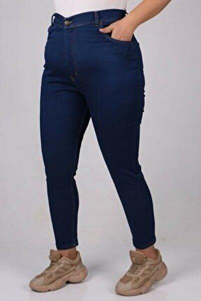 Kadın Büyük Beden Likralı Orta Mavi Kot Pantolon