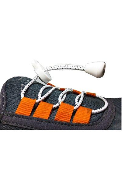 LUCKY Beyaz Akıllı Kilitli Elastik Ayakkabı Bağcık 100 Cm