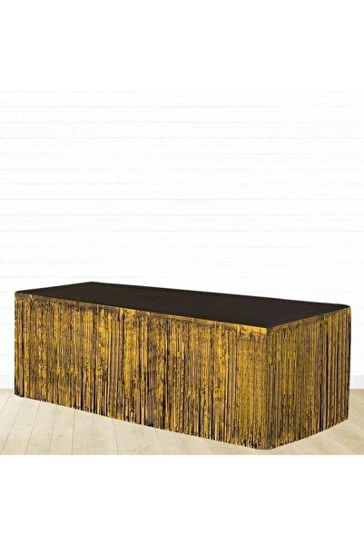 crv Gold Renk Metalize Püsküllü Masa Eteği 1 Adet 75x360 Cm