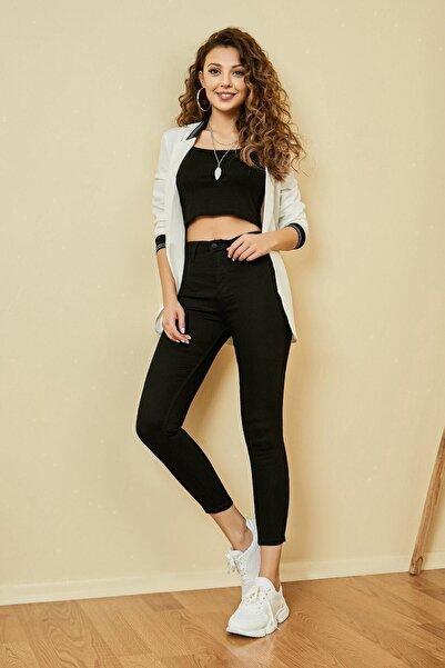 Vis a Vis Clara Simsiyah Solmaz Siyah Jeans Yüksek Bel Pantolon ( Toparlayıcı ) Süper Skinny