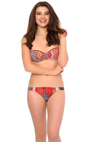Reflections Kadın Desenli Boş Cup Straplez Bikini Takım 250514