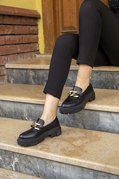 Wenti Shoes Zincirli Siyah Cilt Kalın Taban Loafer Ayakkabı