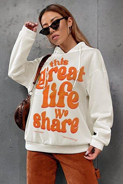 Millionaire Kadın Ekru Great Life Oversize Kapşonlu Kanguru Sweatshirt