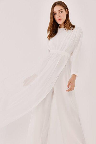 Birgül Bektaş Beyaz Freyya Mezuniyet Abiye Elbise Tulum