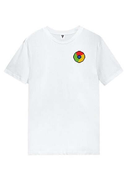 MINECRAFT Google Chrome Pixel Art Baskılı Kısa Kollu Beyaz Gamer Tişört