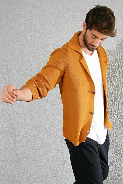 Sateen Men Erkek Hardal Düğmeli Triko Ceket