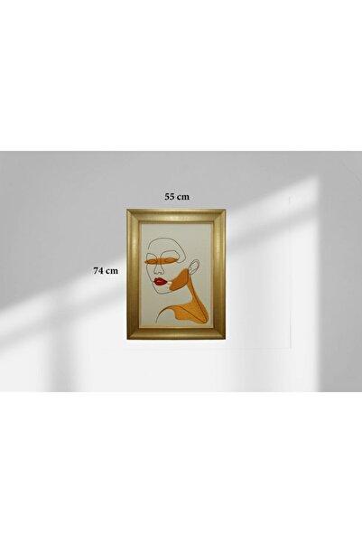 Altın Nakış Özel Üretim El Yapımı Simli Kumaş Üzerine Minimalist Portre Nakışlı Çerçeveli 56x74 Cm Tablo