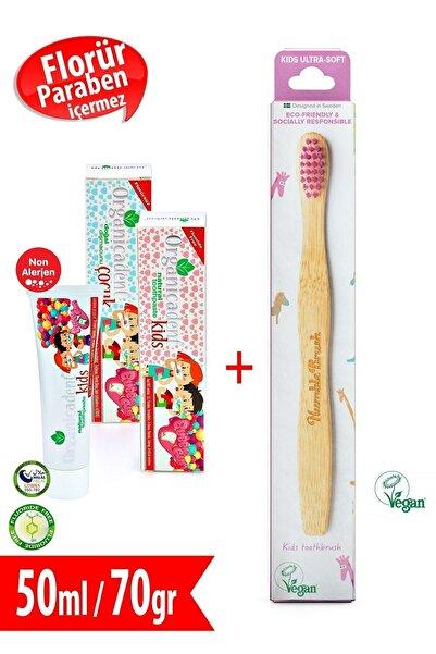 Organicadent Unisex Çocuk Florürsüz Doğa Diş Macunu 50ml + Humble Brush Kids P Organik Diş Fırçası Hediye