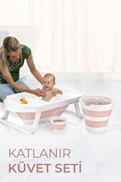 PD-Home Katlanır Çocuk Küveti, Kova Ve Maşrapa Seti Pembe