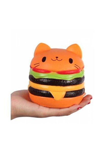 Buldum Squishy Büyük Boy Hamburger Sık Bırak Oyuncak Sukuşi Oyuncak Hamburger Yükseklik 9 cm Anahtarlıkla