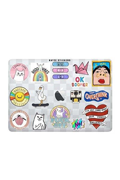 Katze Stickers Mental Art Sanat Temalı Laptop Notebook Tablet Sticker Seti (17 Adet)
