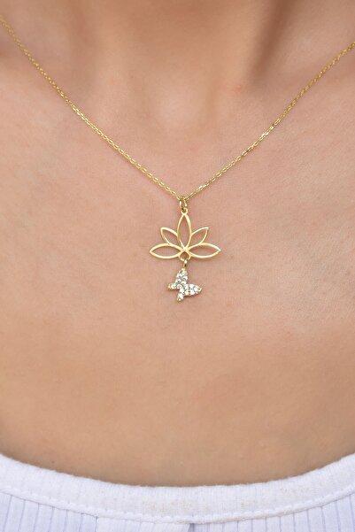 Papatya Silver Gümüş Altın Kaplama Beyaz Taşlı Kelebek Lotus Çiçeği Kolye