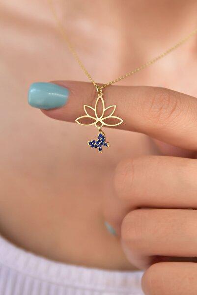 Papatya Silver 925 Ayar Gümüş Altın Kaplama Lacivert Taşlı Kelebek Lotus Çiçeği Kolye