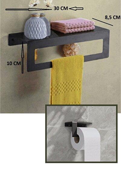 TARMOSER Metal Havluluk Askılı Ve Tuvalet Kağıdı Tutucu 2 Li Set Siyah Havlu Tutacağı Raf Havlu Askısı(30 Cm)