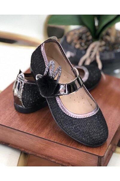 Riccotarz Kız Çocuk Pon Parıldayan Siyah Ayakkabı