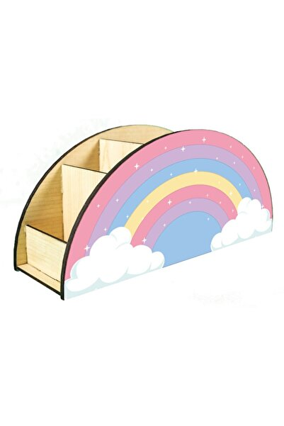 Alea Store Ahşap Gökkuşağı Çocuklar Için Masaüstü Kalemlik Kalem Kutusu Organizer Gökkuşağı Ahşap