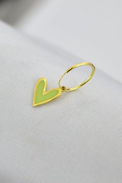 Papatya Silver 925 Ayar Gümüş Altın Kaplama Sarı Mineli Kalp Halka Küpe Tekli