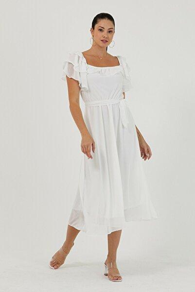 Elbise Delisi Beyaz Volanlı Madonna Yaka Büyük Beden Şifon Elbise