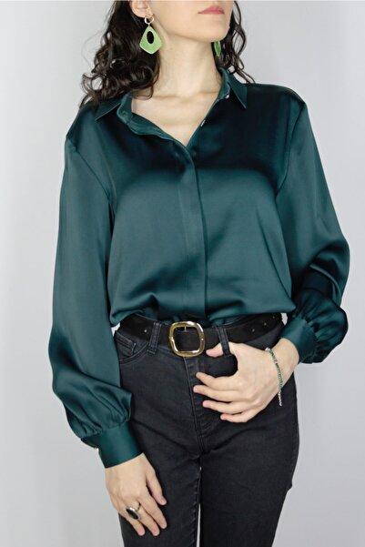 CELAL ETEM Zümrüt Yeşili Gizli Patlı Gömlek