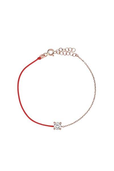 Coşar Silver Zirkon Taşlı Pırlanta Montür Rose Altın Kaplama Kırmızı İpli Gümüş Bileklik
