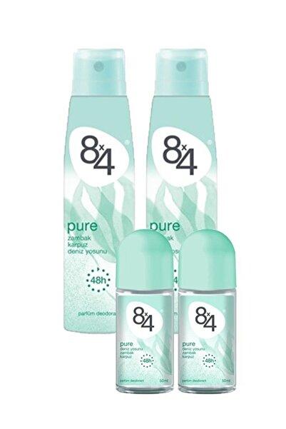 8x4 Pure Kadın Deodorant 150ml X 2 Adet, Roll On 50 Ml X 2 Adet