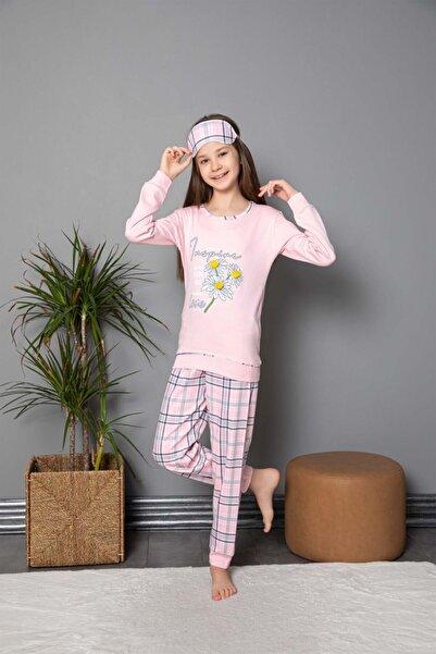 Tarık Kız Genç Papatya Baskılı Ekose Desenli Pembe Uzun Kollu Interlok Pijama Takımı