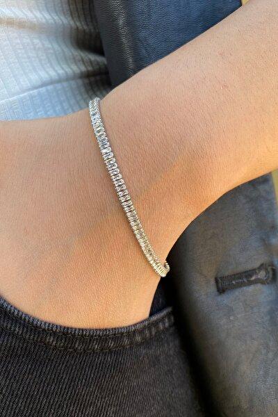 Ressia Kadın Gümüş Kaplama Zirkon Taşlı Baget Model Su Yolu Bileklik