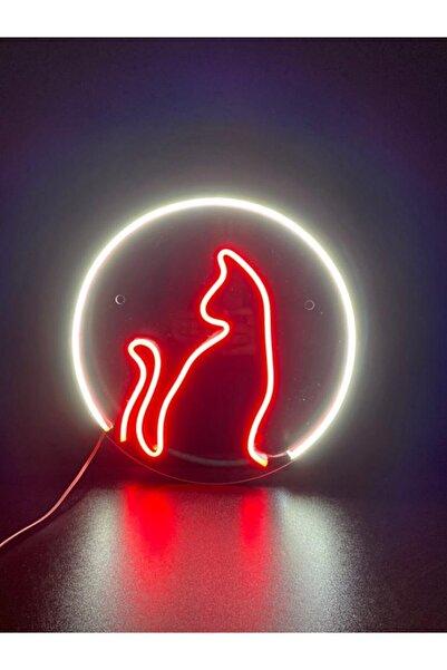 M&B TASARIM Neon Led Pleksi Halka Kedi Duvar Aydınlatması