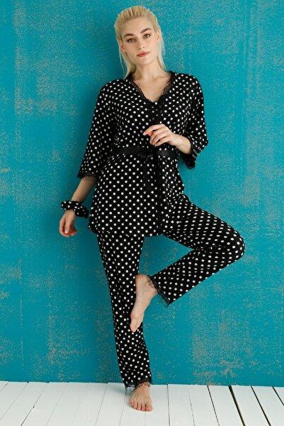 PİJAMAWOME Kadın Süet Kadife Sabahlıklı Puanlı Siyah Kışlık 3'lü Pijama Takım