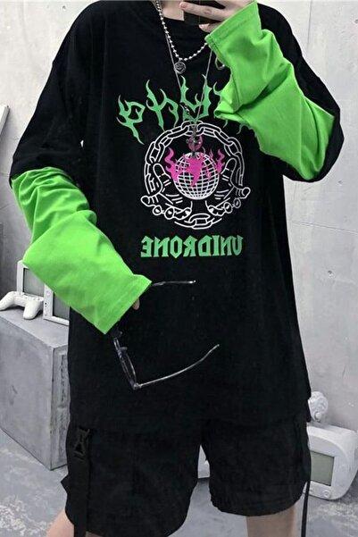 Carpe Yeşil Kol Unidrone Oversize Sweatshirt