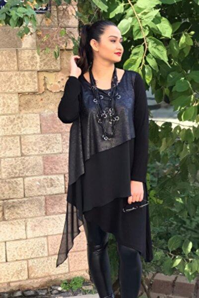 MODANİCE Kadın Siyah Önü Deri ve Şifon Garnili Asimetrik Tunik