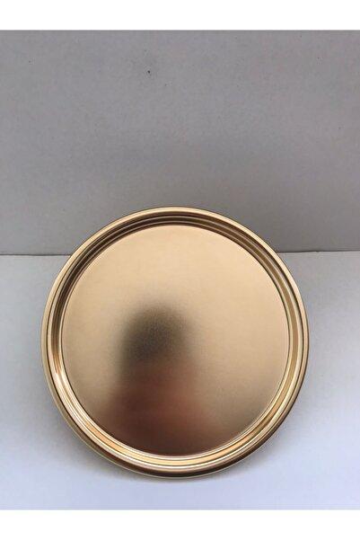 Aslı Hediyelik Yuvarlak Gold Sunum Tepsisi Dekoratif Servis Tepsisi Çay, Kahve 22 Cm