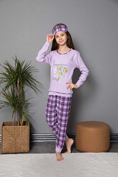 Tarık Kız  Papatya Baskılı Ekose Desenli Lila Uzun Kollu Interlok Pijama Takımı