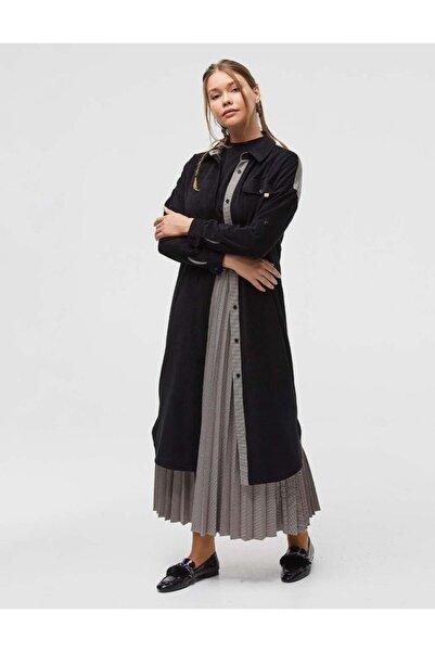 Kayra Fitilli Kadife Uzun Tunik Siyah