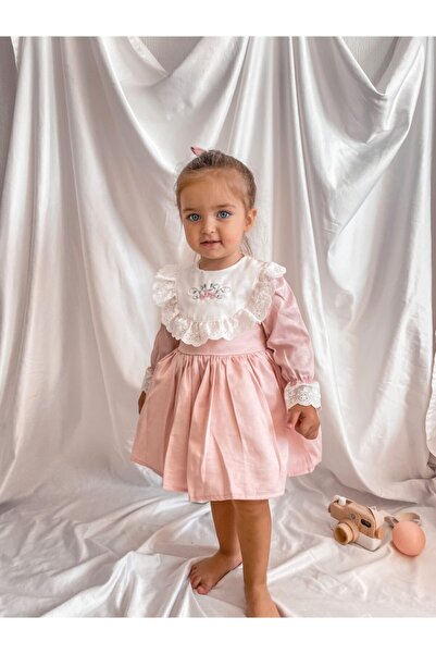 Magu Kız Çocuk Çiçek Işlemeli Vintage Elbise