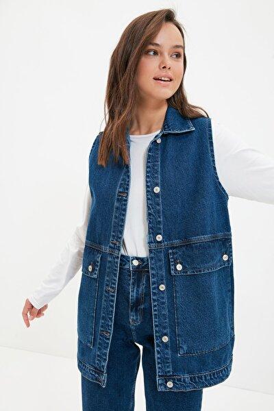 Trendyol Modest Koyu Mavi Gömlek Yaka Cep Detaylı Yelek Ceket TCTAW22CK0006