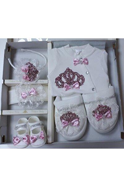 Petite Ponpon Baby Kız Bebek Pembe Hastane Çıkışı Lohusa Seti Terliği Tacı Terlik Taç Seti Hamile Doğum Hediyesi