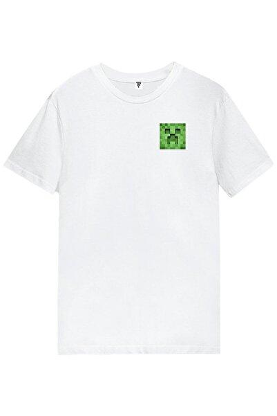 MINECRAFT Creeper Baskılı Unisex Kısa Kollu Beyaz Gamer Tişört