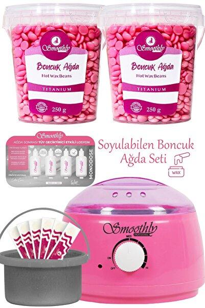 Smoothly 2 Kutu Pudralı Soyulabilen Boncuk Ağda + Premium Ağda Isıtıcı Makine + Ağda Losyonu + Spatula Seti