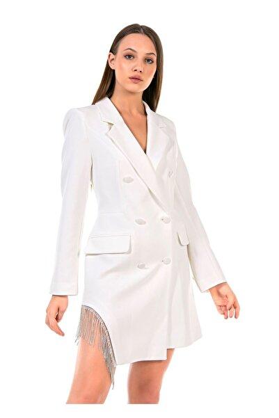 TIFFANY&TOMATO Yandan Yırtmaçlı Zincirli Ceket Elbise