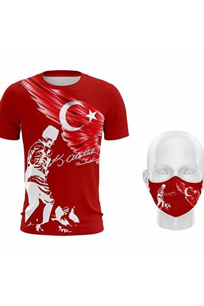 Hediyexpres Unisex Kırmızı Mustafa Kemal Atatürk Türk Bayrağı Baskılı T-shirt ve Maske