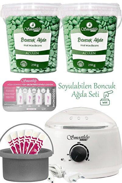 Smoothly 2 Kutu Azulen Soyulabilen Boncuk Ağda + Ağda Makinesi + Ağda Losyonu + Ağda Kabı + Spatula Seti
