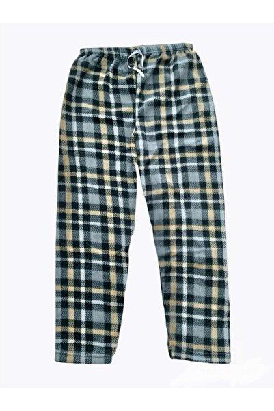 OMODAM Kadın Kareli Tek Alt Peluş Polar Pijama