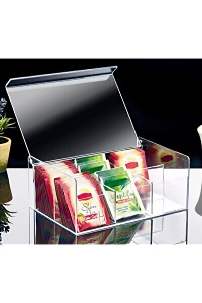 Kitchen Store Çay Kutusu 6 Bölmeli Kapaklı Poşet Bitki Çayı Saklama Kabı