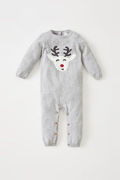 DeFacto Erkek Bebek Yılbaşı Temalı Uzun Kollu Yeni Doğan Pamuklu Tulum U7587A221AUE