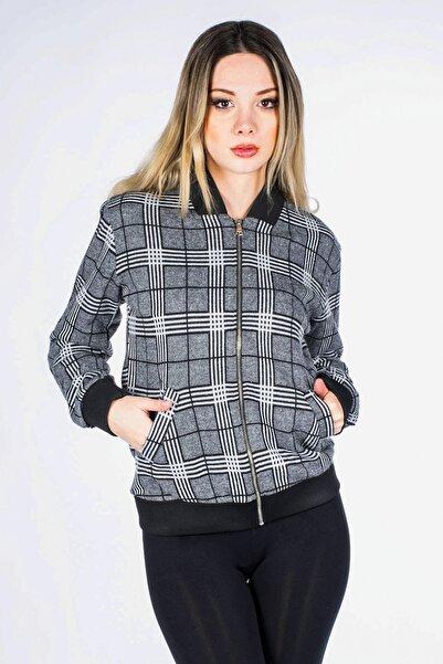 Vision Kadın Gri Ekose Desenli Fermuarlı Ceket