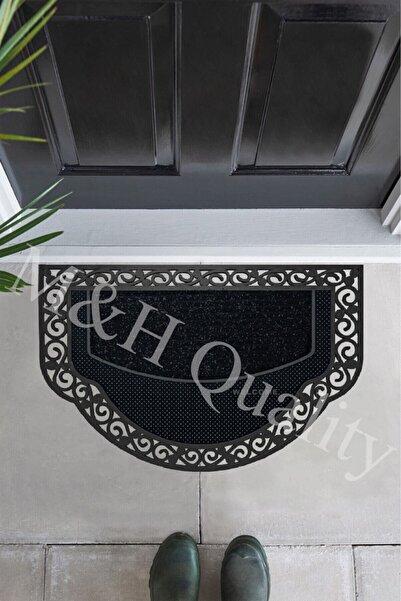 M&H Quality Yarım Ay Modeli Welcome Yazlı Kapı Önü Paspası Siyah Rengi