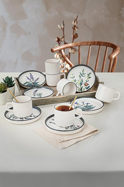 Keramika Çiçek Bahçesi Stackable Çay Takımı 12 Parça 6 Kişilik-18938-39-40-41-42-43